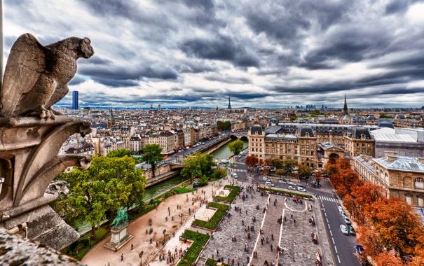 Фото обои осень, небо, облака, деревья, тучи, мост, река