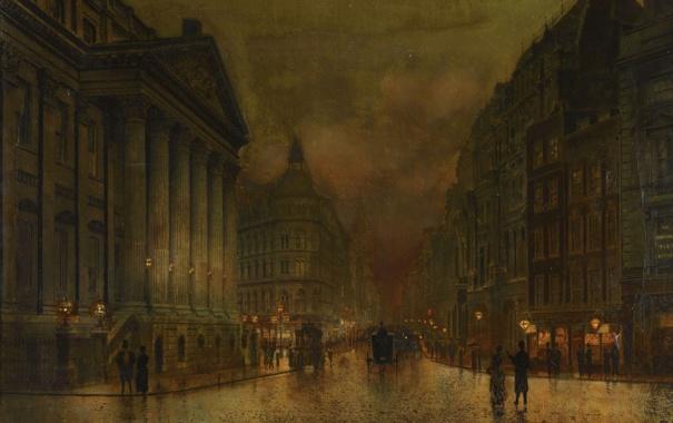 Фото обои город, люди, улица, дома, лондон, картина, колонны