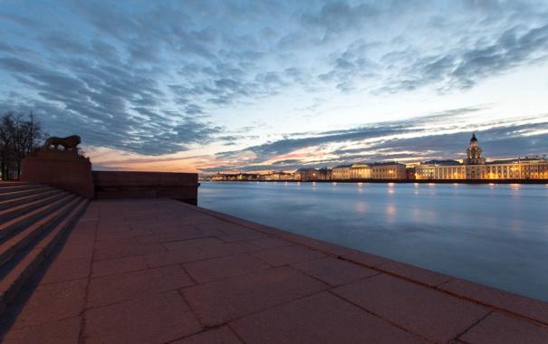 Фото обои Вечер, Питер, Река, Набережная, Санкт-Петербург, Russia, спб