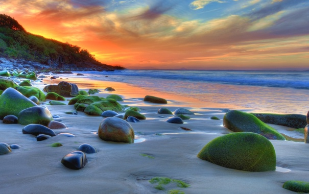 Фото обои песок, море, небо, вода, солнце, облака, пейзаж