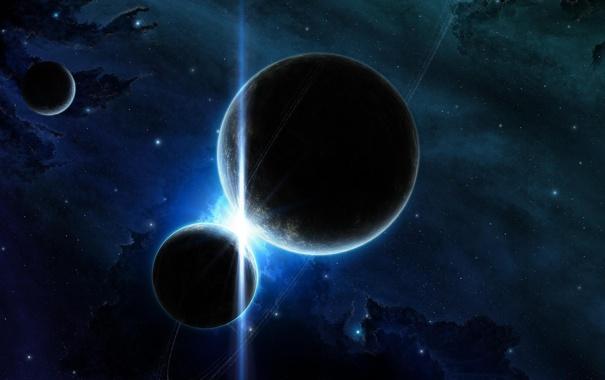Фото обои вспышка, звезды. свет, космичеккое, пространство. планеты