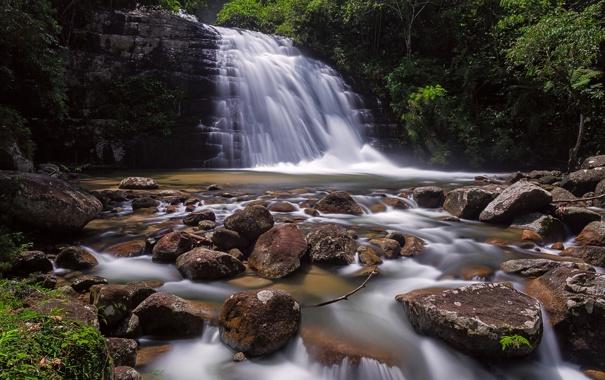 Фото обои река, камни, водопад, Малайзия, Malaysia, Lata Bukit Hijau Waterfall, Kedah