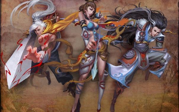 Фото обои девушка, оружие, фон, меч, лук, арт, копье