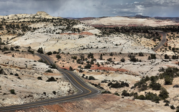 Фото обои desert, hills, highway