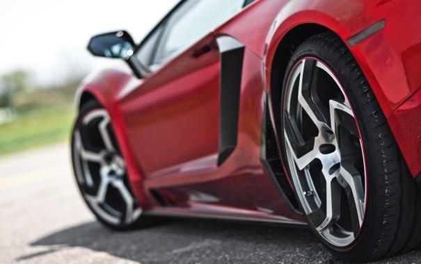 Фото обои крупный план, красный, Lamborghini, колеса, суперкар, диски, LP700-4