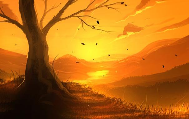 Фото обои листья, пейзаж, закат, река, дерево, арт