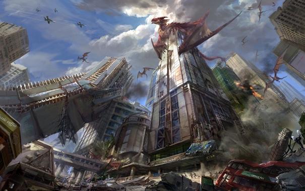 Фото обои город, драконы, самолеты, руины, Арт
