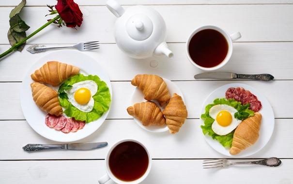 Фото обои rose, breakfast, croissant, heart, love, завтрак, coffee