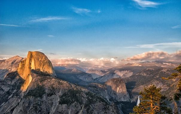 Фото обои лес, горы, вид, высота, долина, Калифорния, California