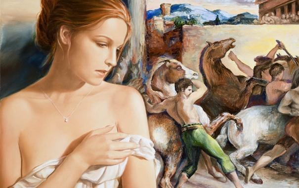 Фото обои девушка, картина, арт, кулон, Edson Campos, холсты, задумчивось