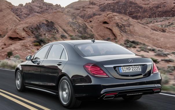 Фото обои машина, Mercedes-Benz, седан, мерс, задок, BlueTec, S 350