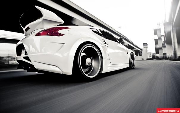Фото обои белый, скорость, Nissan, white, ниссан, vossen, 370-Z