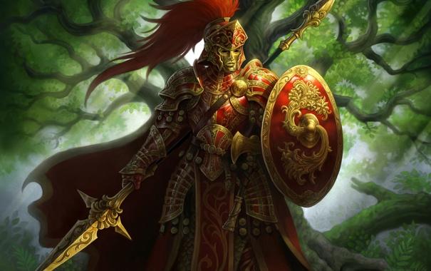 Фото обои воин, маска, арт, копье, щит, доспех, Moonga