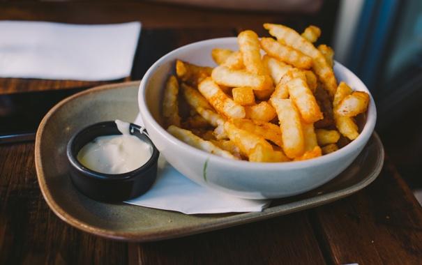 Фото обои еда, соус, картошка, фри