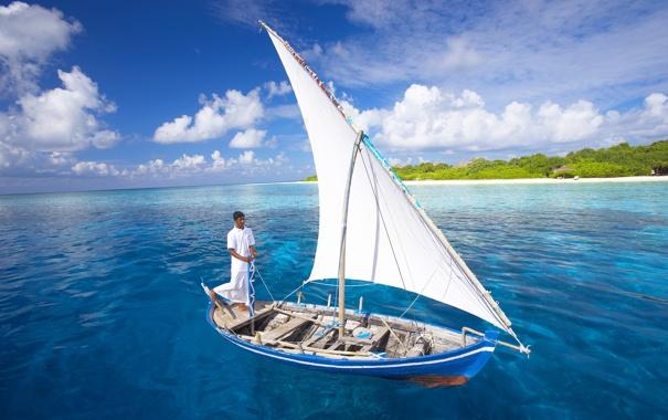 Фото обои море, океан, обои, лодка, жара, мальчик, парус