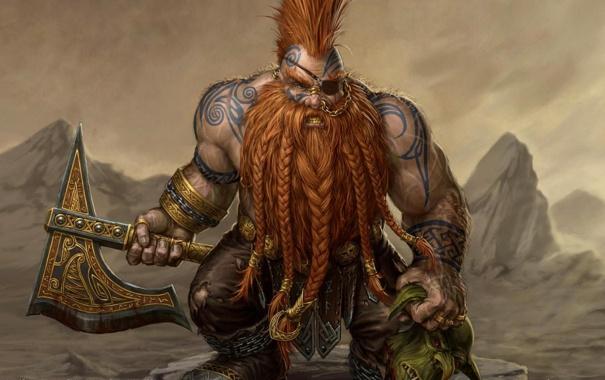 Фото обои Топор, Slayer, Warhammer, tatoo, Гном, dwarf, Axe