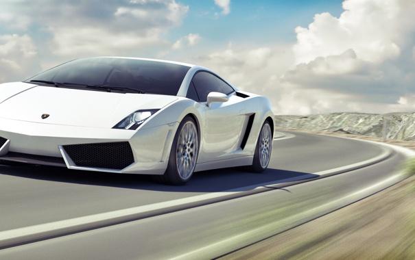 Фото обои небо, облака, пейзаж, скорость, Lamborghini, размытость, белая