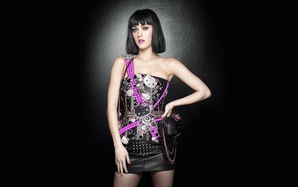 Фото обои певица, Katy Perry, Кэти Перри, чёрное, сеточка, розовое, брюнетка