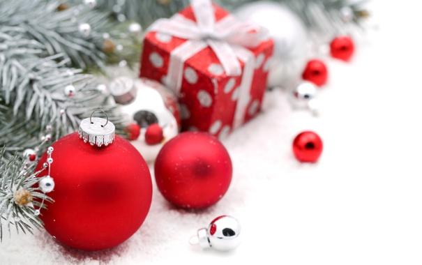 Фото обои зима, шарики, ветки, игрушки, елка, ель, подарки