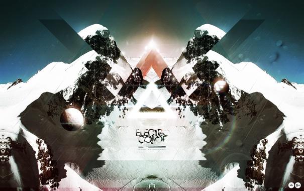 Фото обои снег, горы, абстракция, стиль, креатив, надпись, обработка