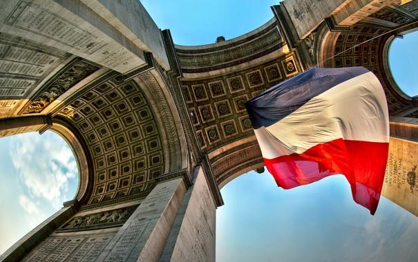 Фото обои Франция, Париж, флаг, Триумфальная арка