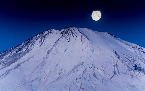 Фото обои луна, гора, Япония, Fuji