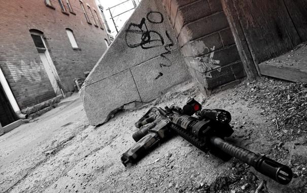 Фото обои оружие, улица, автомат