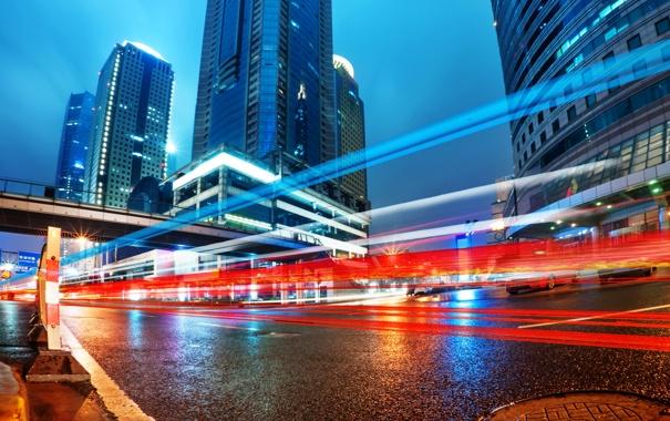 Фото обои China, Китай, Гонконг ночью, Легкие трассы в Шанхае, Hong Kong at night, Easy runs in ...