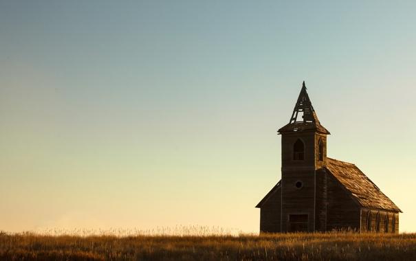 Фото обои поле, небо, храм