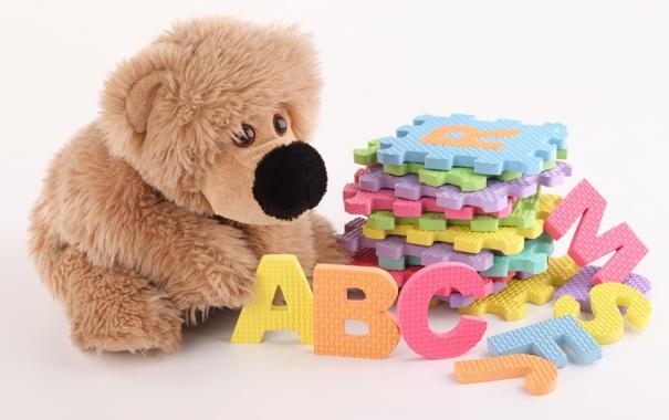 Фото обои детство, буквы, настроение, игрушка, игра, мишка, детская