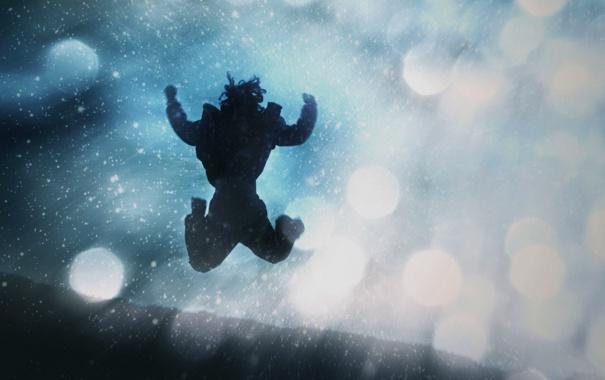 Фото обои свет, блики, прыжок, человек