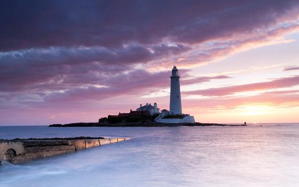 Фото обои море, небо, солнце, облака, закат, краски, маяк