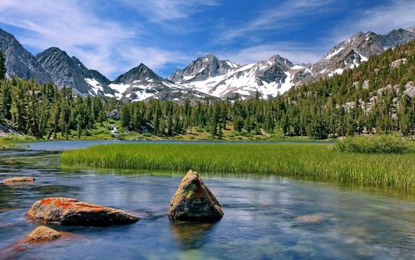 Фото обои камни, Калифорния, камыш, озеро, California, Little Lakes Valley, горы