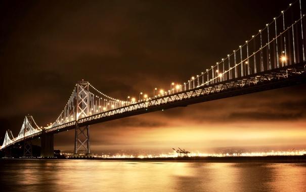 Фото обои ночь, мост, город, огни, освещение, Калифорния, залив
