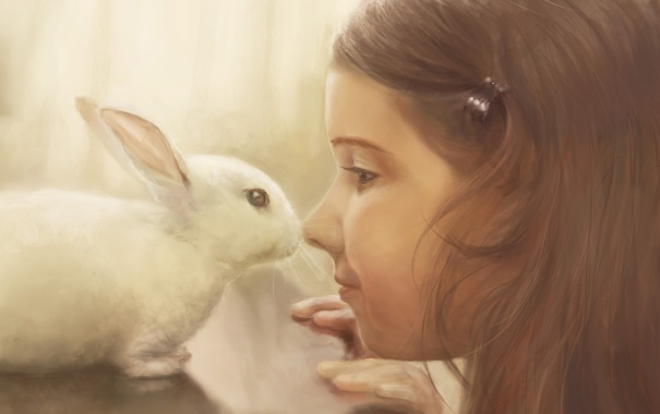 Фото обои белый, стол, животное, нежность, ребенок, кролик, арт