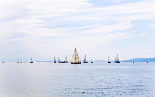 Фото обои море, небо, голубой, парусник