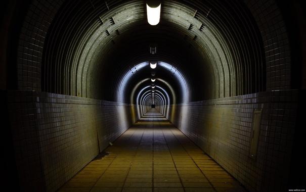 Фото обои плитка, даль, освещение, тунель