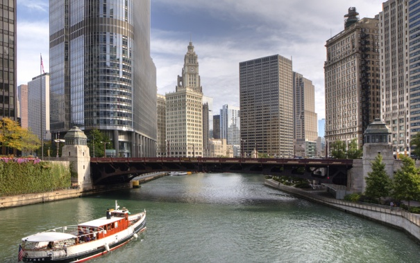 Фото обои вода, река, здания, небоскребы, америка, чикаго, Chicago