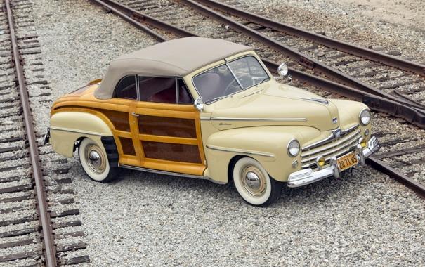 Фото обои ретро, рельсы, Ford, Форд, шпалы, передок, 1947