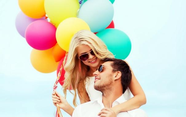 Фото обои шарики, любовь, радость, счастье, воздушные шары, пара, happy