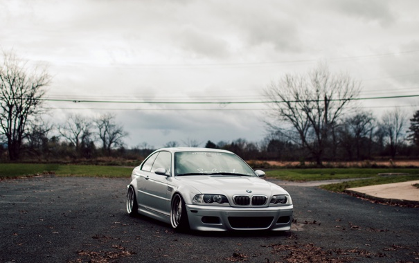 Фото обои бмв, BMW, серая, E46, stance