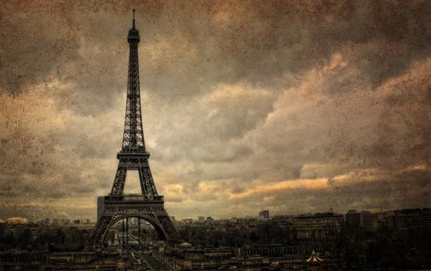 Фото обои город, стиль, фон, Париж, башня