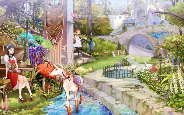 Фото обои парк, девочки, аниме, фонтан