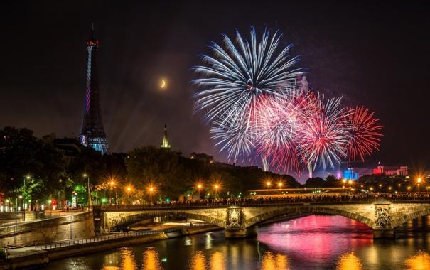 Фото обои фейерверки, блики, Pont des Invalides, Paris, луна, люди, мост