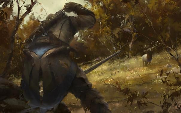 Фото обои лес, животное, олень, охота, ассасин, коннор, Assasins Creed 3