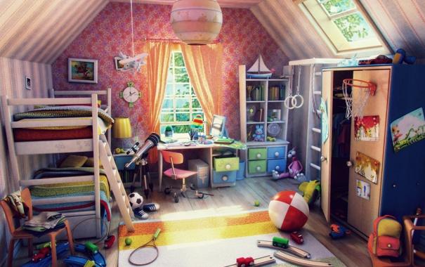 Фото обои детство, игрушки, комната