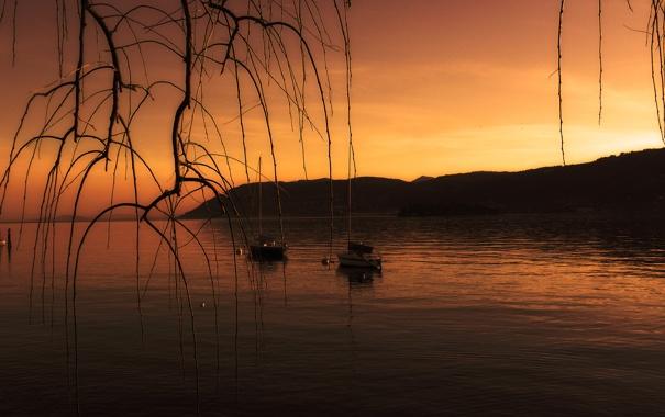 Фото обои небо, закат, горы, озеро, лодка, ветка