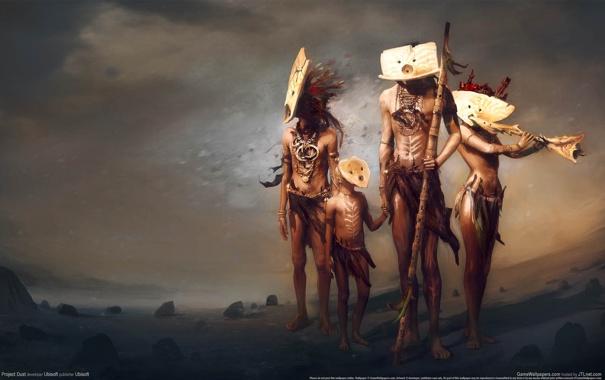 Фото обои маски, аборигены, project dust