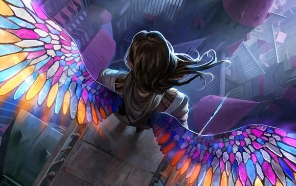 Фото обои colorful, woman, wings, angel