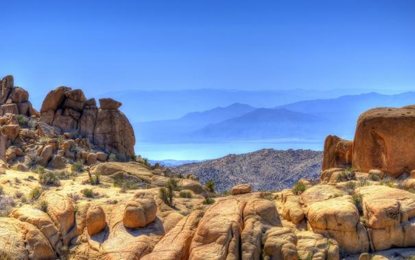 Фото обои море, небо, вода, горы, природа, камни, скалы